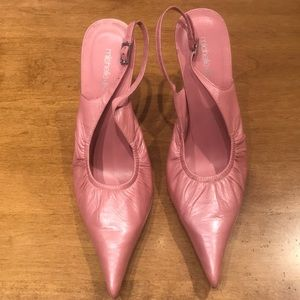 Michelle K Pink Leather Slingbacks Size 9